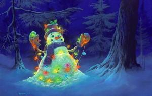 Мастер-класс «Аппликация «Снеговик в лесу»
