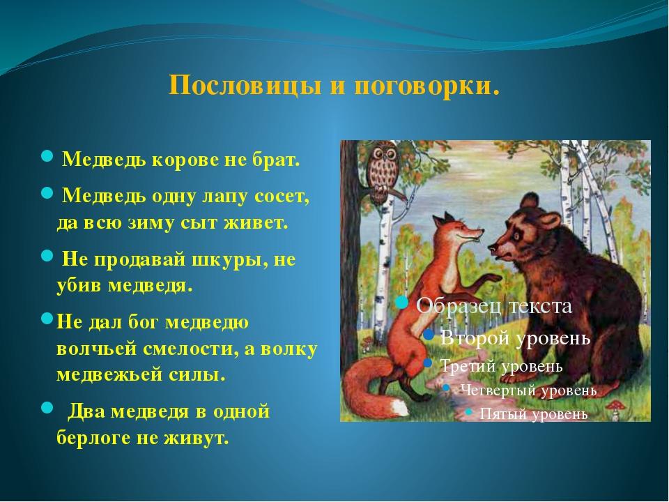 Пословицы и поговорки про медведя
