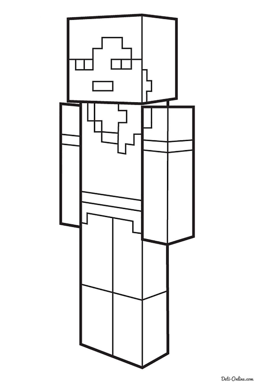 Раскраска Майнкрафт на детском интернет портале Чурики